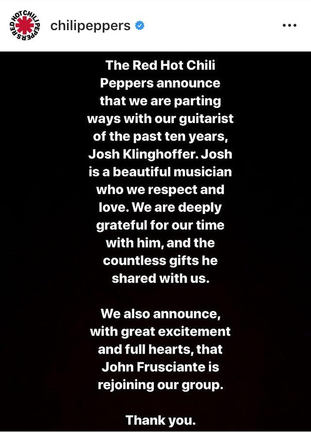 Anúncio no instagram da banda Red Hot Chilli Peppers